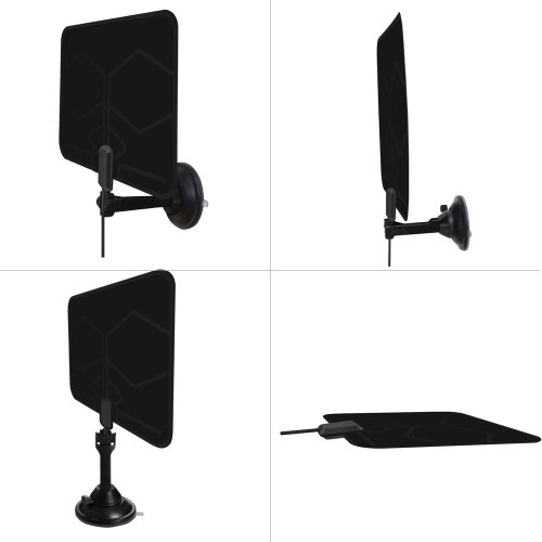 1byone 25 Miles Super Thin HDTV Antenna with Suction Cup Stand and 10 Feet High Performance Coaxial cable