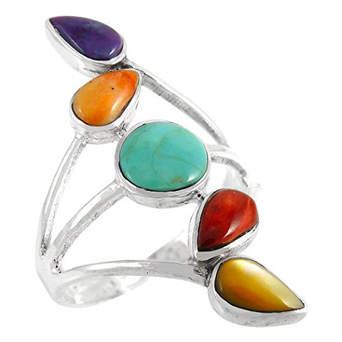 (Turquoise Spiny Ring Sterling Silver 925 Multi-Gemstones (Choose Style) (Autumn Leaves, 7))