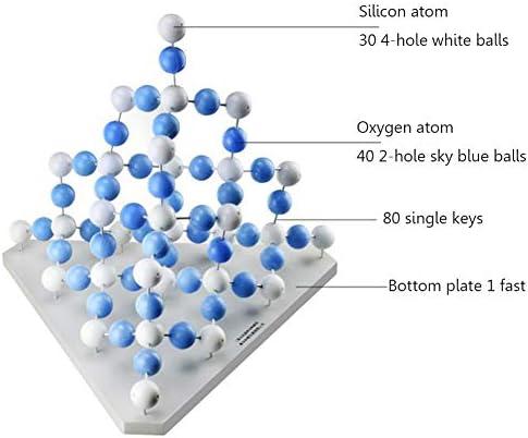 MKULOUS Modelli Molecolari Struttura in Cristallo Kit, Modello di Struttura molecolare di silice per Insegnanti Studenti Scienziato