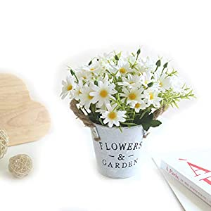 Charmly Artificial Flowers Potted European Style Design Silk Daisy Arrangements House Office Restaurant Table Centerpieces Windowsill Decor Daisy-White 78
