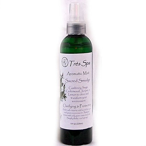 Très Spa Aromatic Mist - Sacred Smudge - Clarifying & Protecting - Sage, Cedarwood, Juniper Berry, & Lemon- Essential oils, A truly versatile natural product to scent you and your environment. Our mists are skin safe, environmentally friendly, and alcohol free. (8oz)