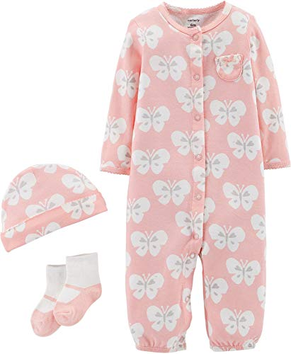 Carters Baby Girls 3-pc. Butterfly Take Me Home Layette Set Newborn Pink/White