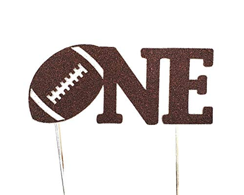 CMS Design Studio Handmade 1st First Birthday Cake Topper Decoration - one with Football - Made in USA with Double Sided Brown Glitter Stock