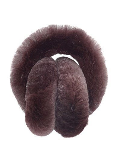 Rabbit Fur Muff (Fur Winter Folding Genuine Rex Rabbit Fur Earmuffs Warmers with Fur Band DBN)