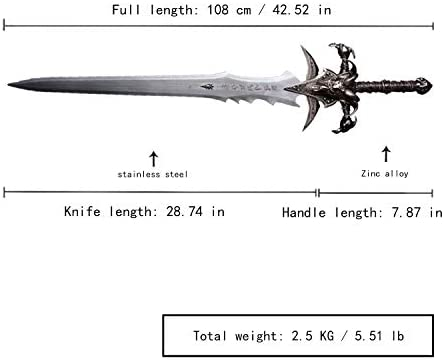 Sword Fort Hand-Made Anime Role-Playing Sword, Stainless Steel, Cosplay Sword, Sharp Knife, Frostmourne Reduced Version