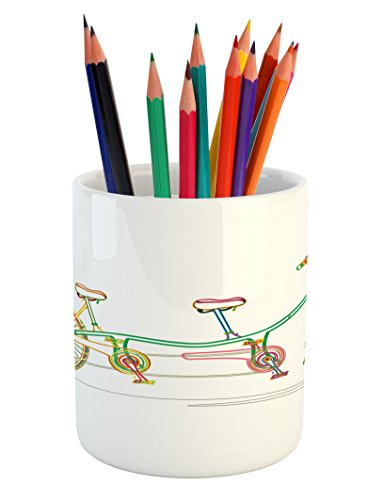 Bicycle Pencil Pen Holder by Ambesonne, Colorful Tandem Bicycle Design on White Background Pattern Clipart Style Print, Printed Ceramic Pencil Pen Holder for Desk Office Accessory, Multicolor Bicycle Clipart