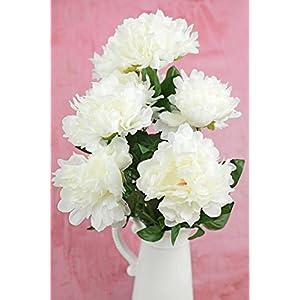 Way Home Fair White Silk Peonies Spray 13