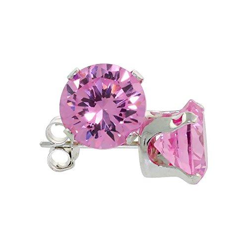 Sterling Silver Cubic Zirconia Pink Zircon Earrings Studs 7 mm Pink Color 2 1/2 carat/pair -