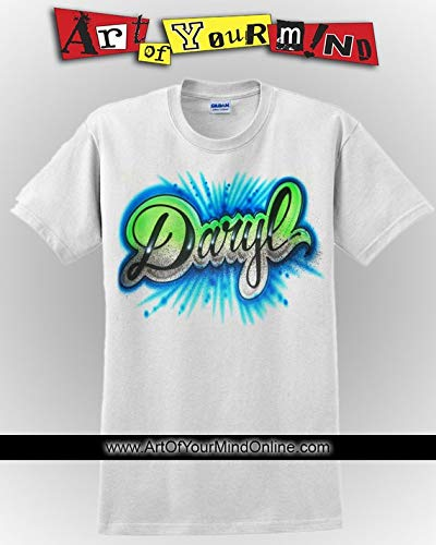 Airbrushed Script Name Tee With Bursts ()