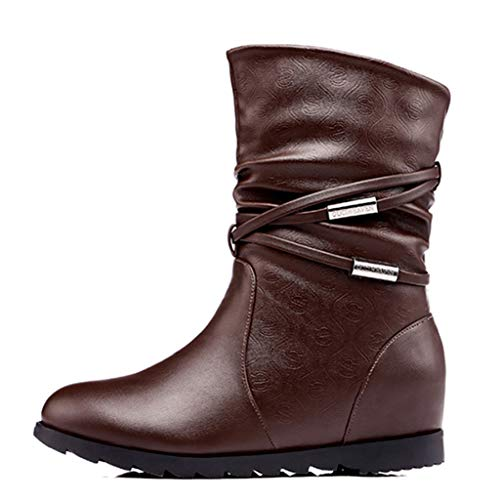 Women's Short Plush Fashion Leather Mid-Calf Inside Heels 3cm Winter Warm Snow Boots
