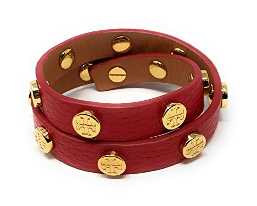- Tory Burch Double Wrap Bracelet Leather Logo Stud Red