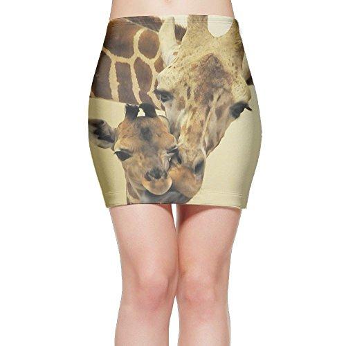 LeYue Women's Short Slim Fit Skirt Fashion Print Giraffe Love Mini Bodycon Skirt (Giraffe Print Skirt)