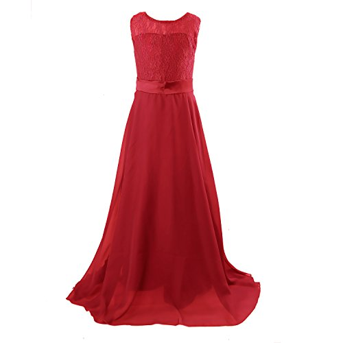 Floor Length Dress, Acecharming Big Girls Lace Chiffon Dress Wedding Bridesmaid Dress Dance Party Gown Maxi Girl Long Dress