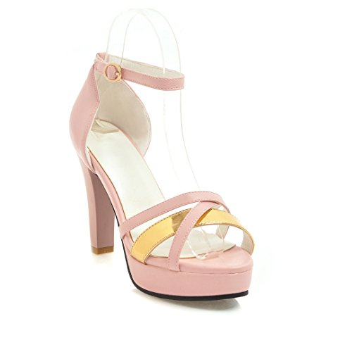 Large Fish Waterproof Thick Pink Buckle Platform High Women's Heel Mouth Sandals Size 5FzwXz