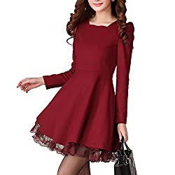 Gloshop Women's Hip Long Sleeved Woolen Slim Dress with Lace Trim Wine red M