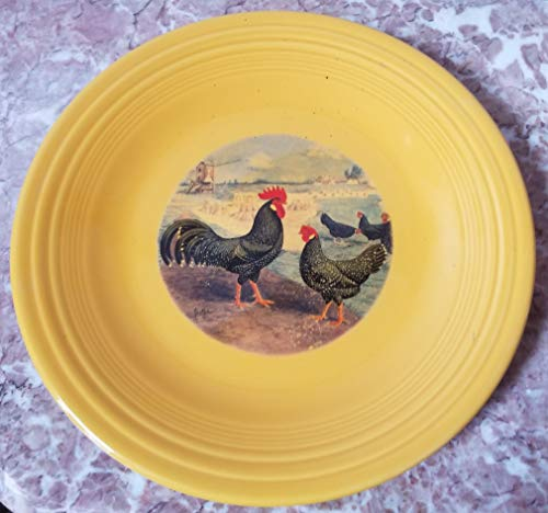 Fiestaware Dinner Plate - w/Chickens Black Ancona - Tangerine Orange - Homer Laughlin China Co. Fiesta