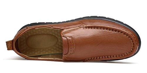 Tda Mens Semelles En Caoutchouc De Mode En Cuir Mocassins Respirant Conduite Slip-on Casual Chaussures Daffaires Marron