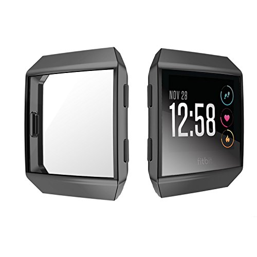 SIRUIBO Compatible Fitbit Ionic Screen Protector, Slim Plated TPU Rugged Cover Full-Around Protective Case Bumper Shell Compatible Fitbit Ionic Smart Watch, Black