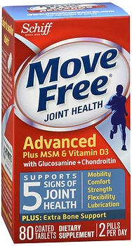 Glucosamine Plus Vitamin - Move Free Advanced Plus MSM and Vitamin D3, 80 tablets - Joint Health Supplement with Glucosamine and Chondroitin (Pack of 3)