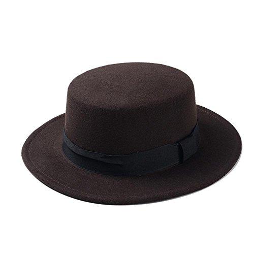 Shufang-hats, SF Wool Hat,Brand New Wool Boater Flat Top Hat For Women's Felt Wide Brim Fedora Hat Laday Prok Pie Chapeu de Feltro Bowler Gambler Top Hat (Color : Coffee, (Felt Wide Brim Gambler Hat)