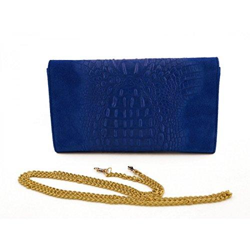 Bolso De Mano Para Mujer En Piel Verdadera Con Estampado De Cocodrilo Color Azul - Peleteria Echa En Italia - Bolso Mujer