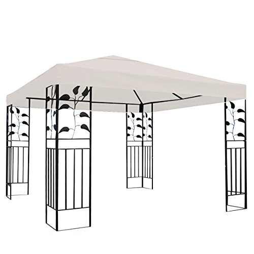Tangkula 10'x10' Canopy Cover Outdoor Patio Gazebo Replacement Top Cover Wedding Party Event Tent Cover Heavy Duty Durable Waterproof Sun Snow Rain Shelter 1-Tier or 2-Tier 3 Color (1-Tier, Beige) by Tangkula (Image #2)