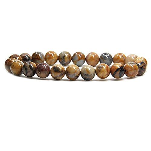 Amandastone Venus Jasper Gem Semi Precious Gemstone 8mm Ball Beads Stretch Bracelet 7