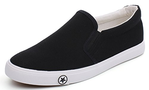 Women's Black Canvas Casual Tennis Slip On Loafers Shoes Comfortable Driving Flats Fashion Sneakers Size 7