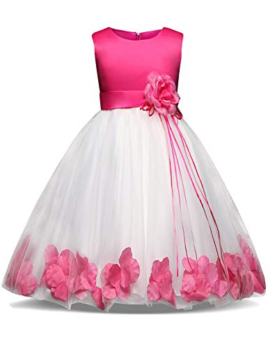 NNJXD Girl Tutu Flower Petals Bow Bridal Dress for Toddler Girl Size 6-7 Years Big Rose -