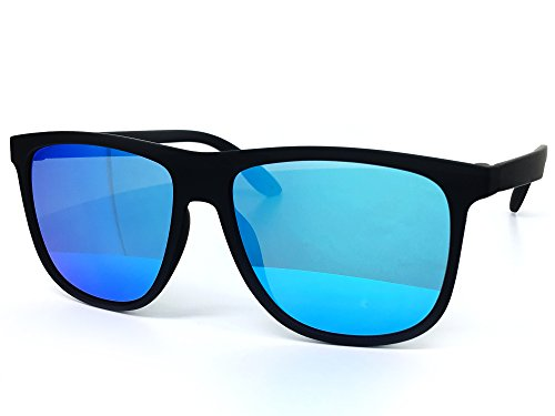 O2 Eyewear 26001 Premium Soft Oversize Matte Finish Mirror Womens Mens Sunglasses (MATTE BLACK, - Protective Sunglasses Uv