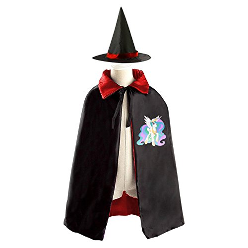 Kids Wizard Witch Costume Set Princess Celestia Cosplay Party Reversible Cape With Hat