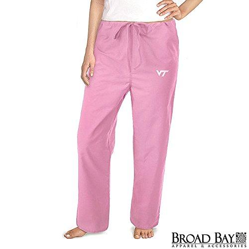 Ladies Virginia Tech Pink Scrubs Pants Bottoms -Size LG- Hokies (Tech Scrub Pajama Pants)