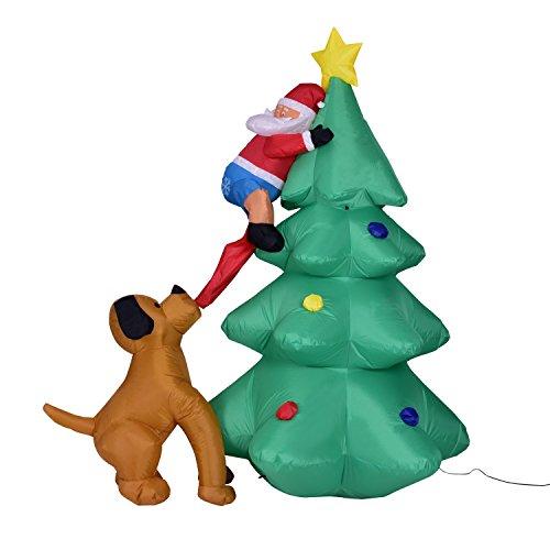 XuBa 6 Pies Divertido Inflable Papá Noel Escalada en Árbol de Navidad Perseguido por Perro Enchufe de EE.UU