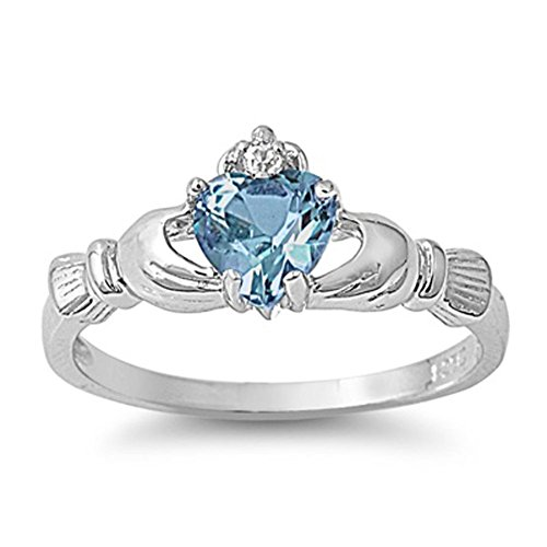 Sterling Silver Women's Simulated Aquamarine Claddagh Ring Irish Band 9mm Size 9 by Sac Silver