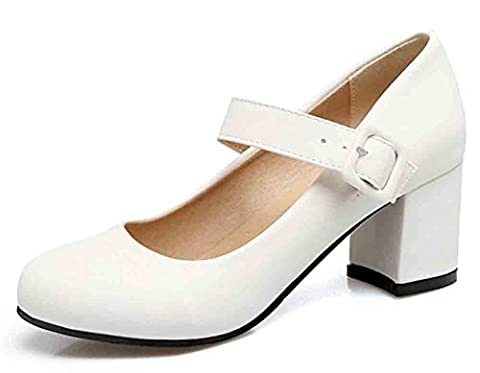 Easemax Women's Sweet Round Toe Low Cut Buckled Strap Mid Block Heel Mary Jane Pumps Shoes White 7.5 B(M) - Mary Jane Shoe Block Heel