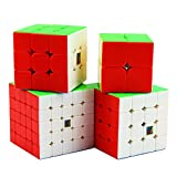 Dreampark Moyu Speed Cube 2x2 3x3 4x4 5x5 Stickerless Smooth Magic Cube Puzzles Toy Bundle Set of 4