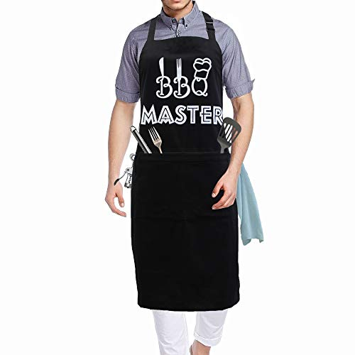 COZYMATE Grill Apron Funny Chef Aprons for Men Women BBQ Baking Cooking Adjustable 2 Pockets, BBQ Master