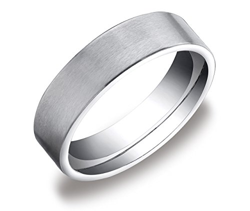 10k White Gold 6mm Comfort Fit Flat Wedding Band with Soft Satin Finish, Size 10