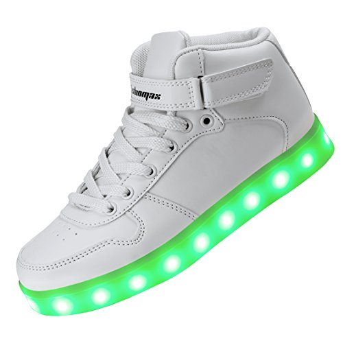 Shinmax Led Shoes, Hi-top Adult 7 Color USB Rechargeable Light Up Shoes  Unisex 28d25b023b26