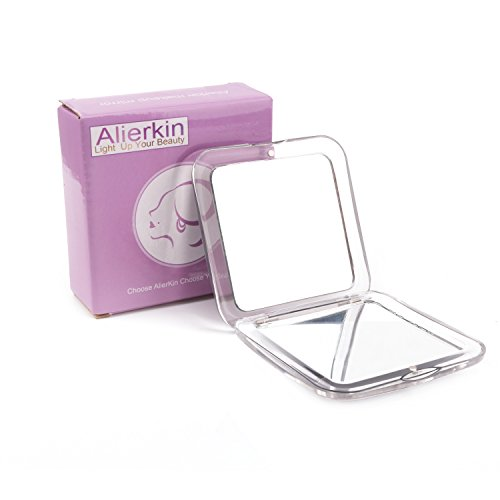 AlierKin Compact Travel Makeup Mirror, 1X + 5X Magnifying Mini Square Handheld Mirror, Perfect for Pocket Purses Travel (Sliver) (5x Magnifying Compact Mirror)