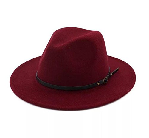 acd458fc182 Lanzom Womens Classic Wide Brim Floppy Panama Hat Belt Buckle Wool Fedora  Hat