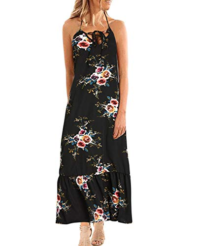 - STYLE DOME Women's Sleeveless Maxi Dresses Summer Boho Floral Strap Casual Beach Dress 3- Black S