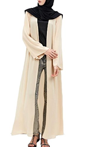 Apricot Abaya Longline Women East Muslim Middle Coolred Cardigan Dresses zwPq4TO