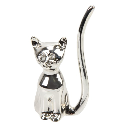 Charming Silver Plated Cat Ring Holder with White Crystal Eyes By Sophia - A must for all cat lovers (15274) delicate