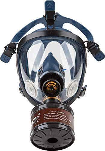 Induschoice Organic Vapor Full Face Respirator Mask Gas Mask Paint Pesticide Chemical Formaldehyde Anti Virus Respiratory Protection(Respirator +1 LDG3 Canister) ()