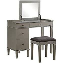 Linon Alexandria Bedroom Vanity Set in Silver