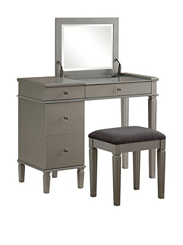 Linon Alexandria Bedroom Vanity Set in Silver