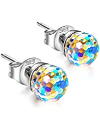 "Hypoallergenic Earrings""Over the Rainbow"" 925 Sterling Silver Stud Earrings for Women, Crystals from Swarovski..."