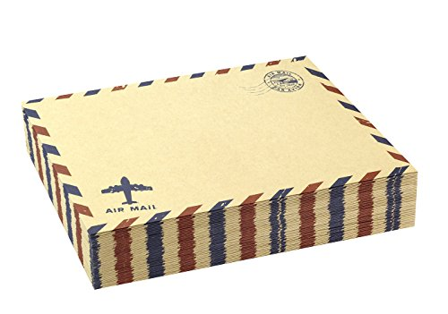 BeeChamp Self-Sealing A7 Vintage Party Wedding Invitation Airmail Envelopes for 5x7 Cards (Brown Kraft, 50 pack)