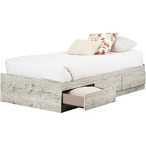 South Shore 11893 Aviron Mates Bed with 3 Drawers, Twin, Seaside Pine